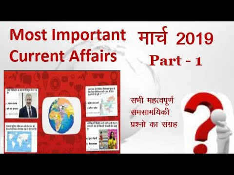 Most Important Questions of March 2019 Current Affairs  Part - 1