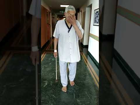 Patient walking comfortably without any support on 3 day after knee replacement surgery
