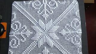 Square Imperial De Crochê Com Ponto Alto E Ponto Pipoca Parte 1