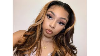 CARAMEL COLOR FRONTAL WIG INSTALL & STYLE FT. LuvMe Hair