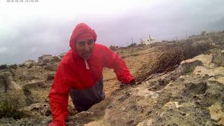 3 . _ how to live 150 years in health ! Jogging in a windy and rainy Saturday & spraying sea waves