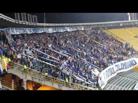"""""""Todos saltando en el tablón, todos aquí llenando la popular - MILLONARIOS"""" Barra: Blue Rain • Club: Millonarios"""