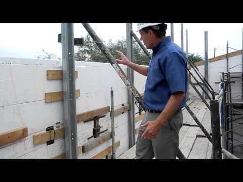 Fox Blocks Masonry Scaffold Hybrid Insulated Concrete Forms tall wall.MOV