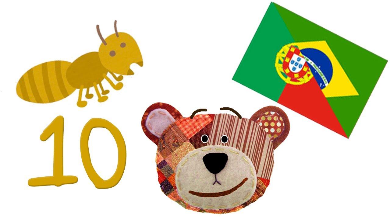 Contar del 1 al 10 en portugués - Con insectos