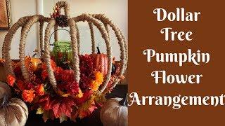 Dollar Tree Fall Crafts: Dollar Tree Pumpkin Wreath Form Flower Arrangement