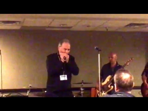 Improvising some amplified free-form blues harmonica at the 2016 Harmonica Collective teaching event.