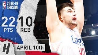 Ivica Zubac Full Highlights Clippers Vs Jazz 2019.04.10 - 22 Pts, 11 Reb!