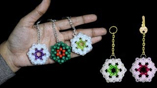 How To Make Crystal Beads Keychians At Home  | Beaded Keychains | Beads Craft Ideas