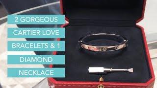 Two Gorgeous Cartier Love Bracelets & One Dazzling Diamond Rivera Necklace