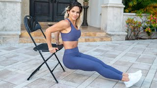 MICHELLE LEWIN: Triceps Exercises // Home Workouts With Weighted Bag And Chair