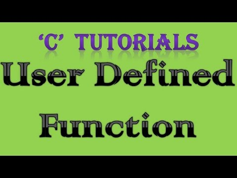 C Programming Tutorial   33 User Defined Function