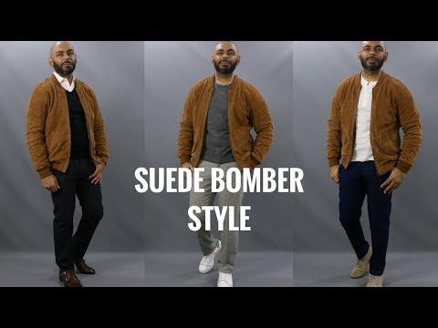 How To Wear A Suede Bomber Jacket/How To Style A Brown Suede Bomber Jacket