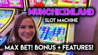 Wizard of Oz Munchkin Land Slot Machine! Max Bet Bonus + Witch Features!!