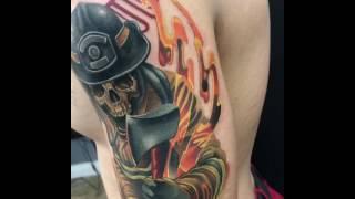 Firefighter Tattoo In Progress