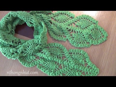 How to Crochet scarf tutorial (Engsub) I Móc khăn len hoa văn trái dâu