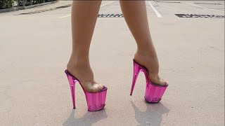 Review No Ankle Straps Pleaser FLAMINGO-801T Tinted Pink 8 Inch High Heel Slide Shoes
