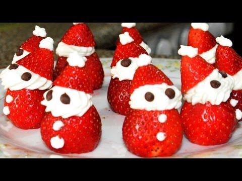 Recetas De Navidad: Mini Santa Claus Con Fresas y Crema
