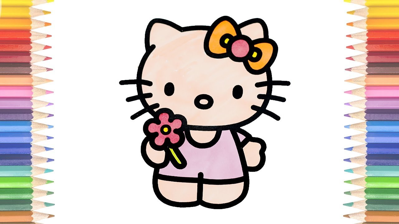 How to Draw Hello Kitty Flower Coloring Pages Youtube Videos for Kids Learning Drawing Learn Colors