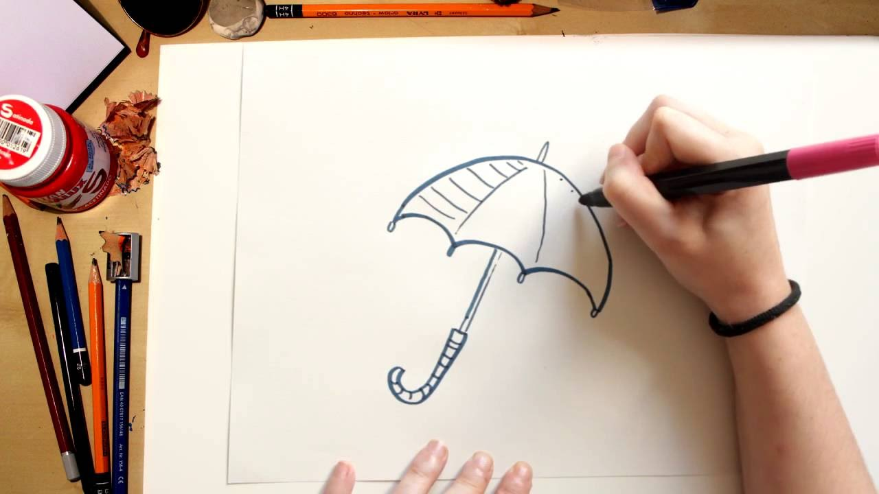 Como dibujar un Paraguas - dibujos de otoño para niños