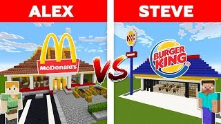 Minecraft McDONALDS vs BURGER KING / Alex vs Steve minecraft animation