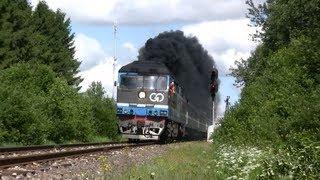 Много дыма: Тепловоз ТЭП70-0236 нa ст. Лелле / Extreme smoke: TEP70-0236 leaving Lelle station