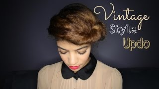 Easy Vintage Styled Updo on Natural Hair