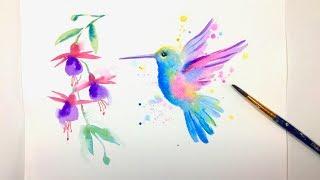 HUMMINGBIRD EASY FREEHAND PAINTING / For Beginners / Watercolor Beautiful Bird Art