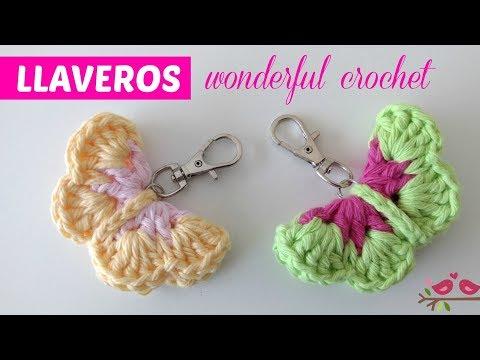 Llaveros crochet mariposas fáciles