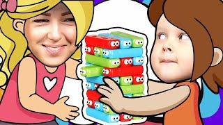 ЧЕЛЛЕНДЖ ДЖЕНГА Червячки Строим Башню JENGA CHALLENGE Видео для детей Games for kids