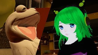 australian girl banters with local albino kermit in VRChat