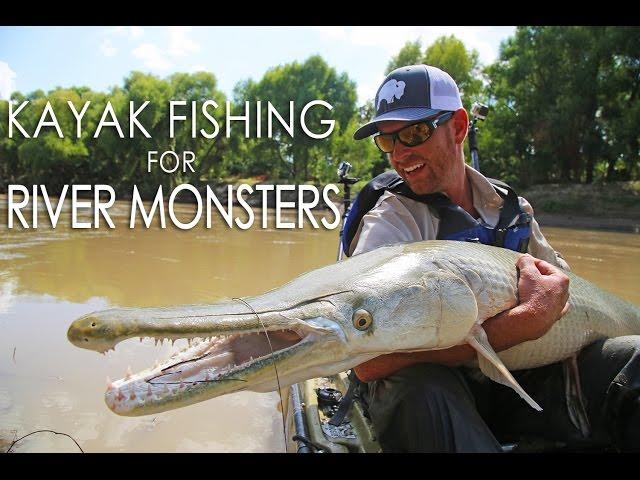 Kayak Fishing for River Monsters - GIANT Alligator Gar