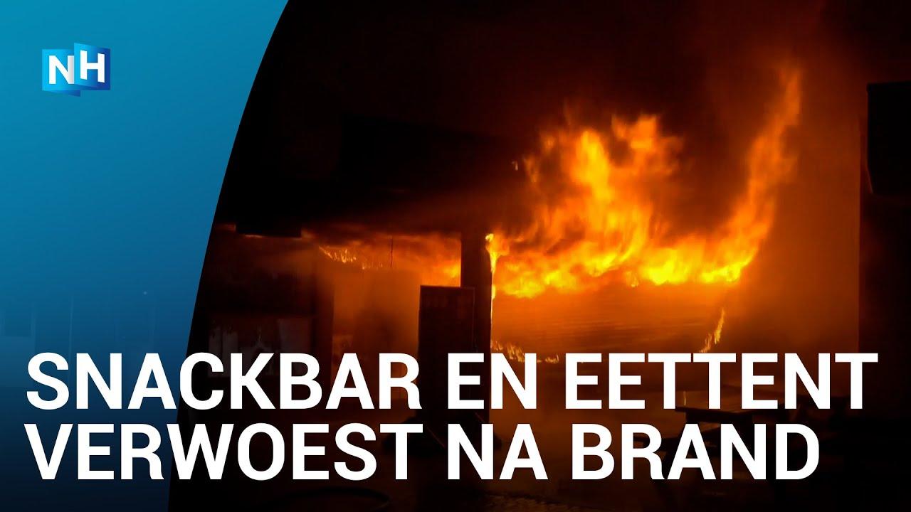 Grote uitslaande brand op het Plein in Bergen