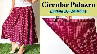 Very Easy Circular Palazzo Cutting And Stitching | Plazo | English Subtitles | Stitch By Stitch
