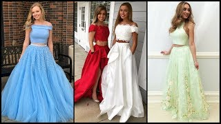 Trendy Two Piece Long Evening Prom Dresses For Women