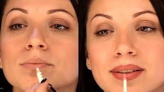 Смотреть онлайн Как увеличить губы в домашних условиях косметикой