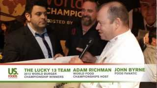 Food Fanatic John Byrne with World Burger Champion Lucky 13