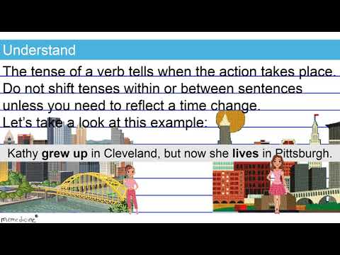 Ninth grade, common core, grammar and mechanics lesson that teaches you how to correct inappropriate shifts in verb tense.