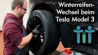 Winterreifen Reifenwechsel beim Elektroauto Tesla Model 3: 19 Zoll und TPMS-Sensoren