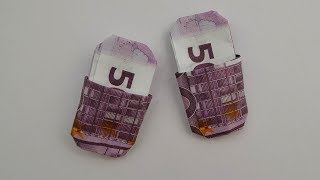 How To Make ORIGAMI Slippers Out Of Euro Bills Tutorial DIY