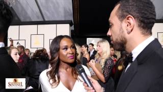Angie Fisher interview at the 57th Grammy Awards