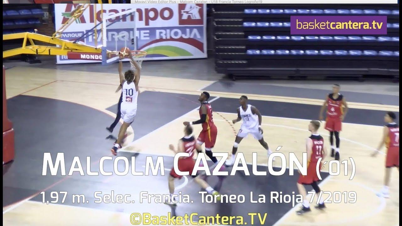 MALCOLM CAZALON (´01) Selec. U18-Francia. Torneo Junior La Rioja 2019 (BasketCantera.TV)