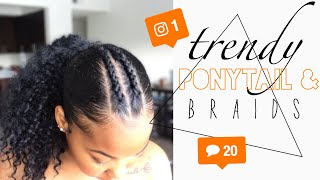 How To: TRENDY Instagram Inspired Ponytail With Two Braids Using Faux Ponytail | Kinzey Rae