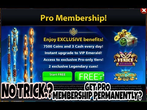 How to get Pro Membership 8 ball pool Free trial? 150M table