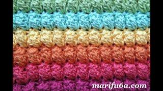 How To Crochet Rainbow Popcorn Blanket Afghan Rug Stitch Free Pattern Tutorial By Marifu6a