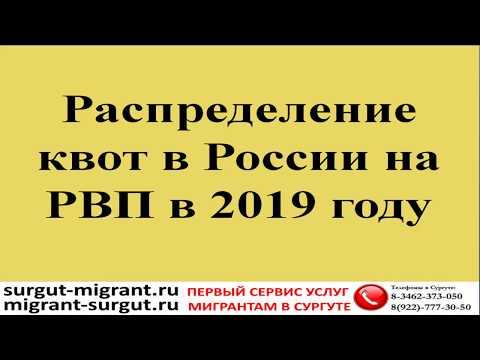 Распределение квот в России на РВП в 2019 году