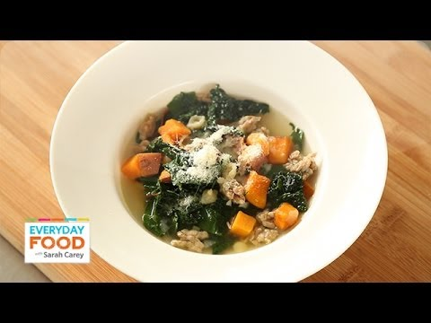 Sweet Potato Soup with Sausage and Greens – Everyday Food with Sarah Carey