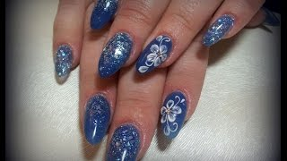 tutorial-Acrylic nails in deep blue, designed on tips with 3 D flowers