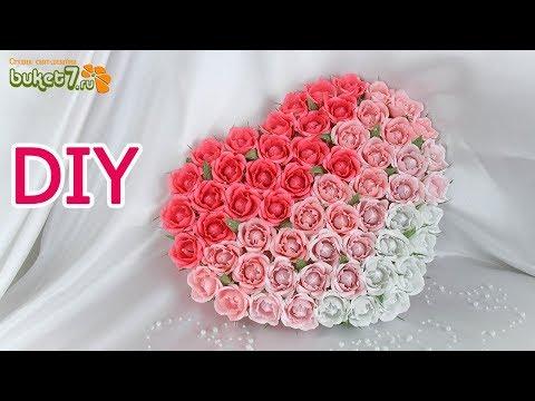 Сердце с цветами из конфет ☆ Подарок на свадьбу своими руками☆ Diy валентинка☆ Оригинальный подарок
