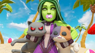A DAY IN THE LIFE OF BABY SHE-HULK...( Fortnite Short )