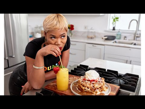 How To Make Waffles w/ Butter Syrup & Peach Mimosas!